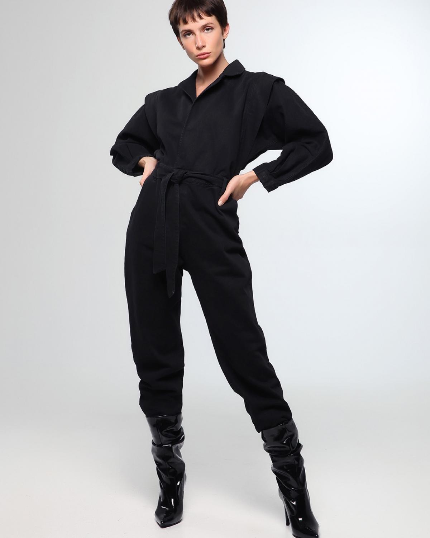 80's Jean Black Jumpsuit