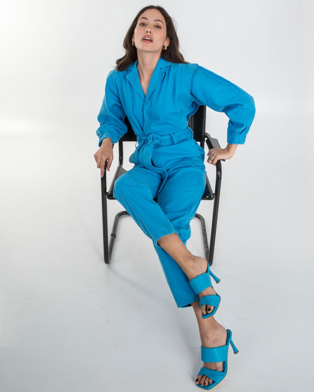 80's Jean Jumpsuit Turquoise