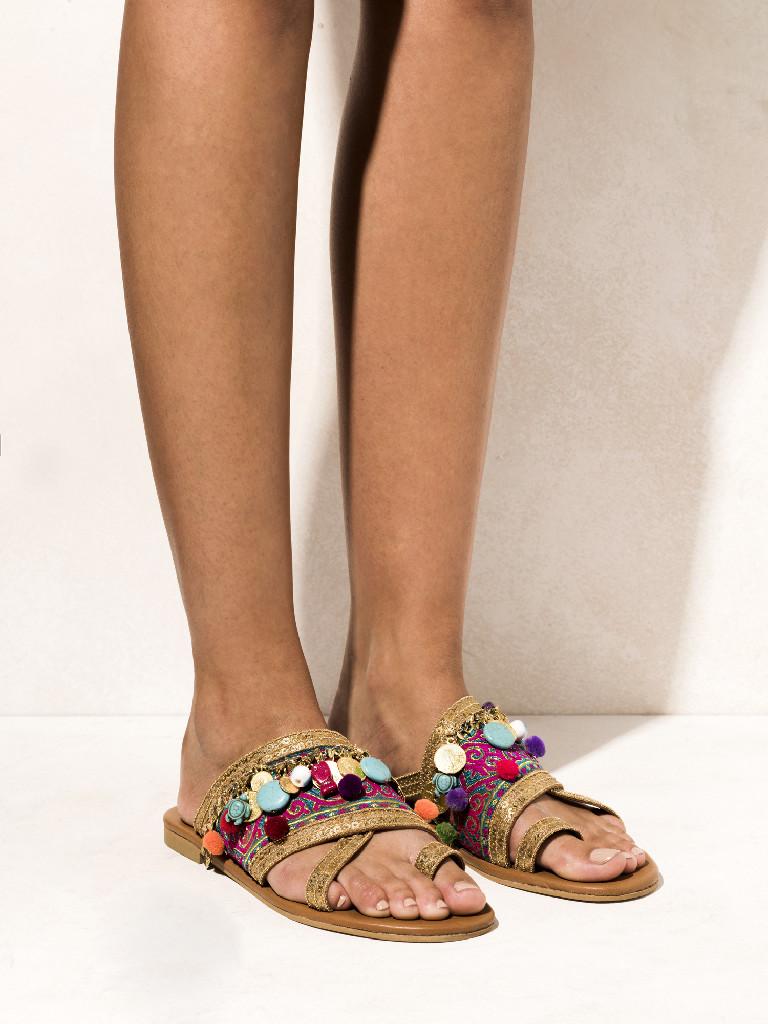 bb5dcaaef Agrabah Embellished Leather Sandals - Fashionnoiz