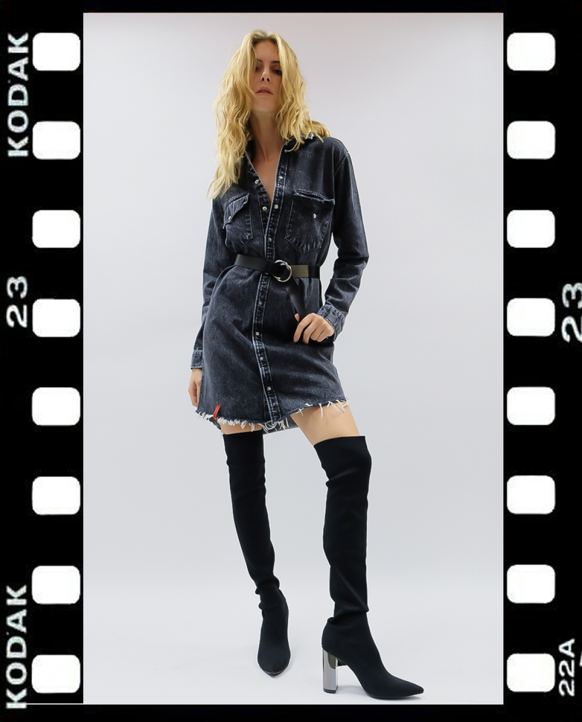Andria Black Pearl Denim Shirt-dress
