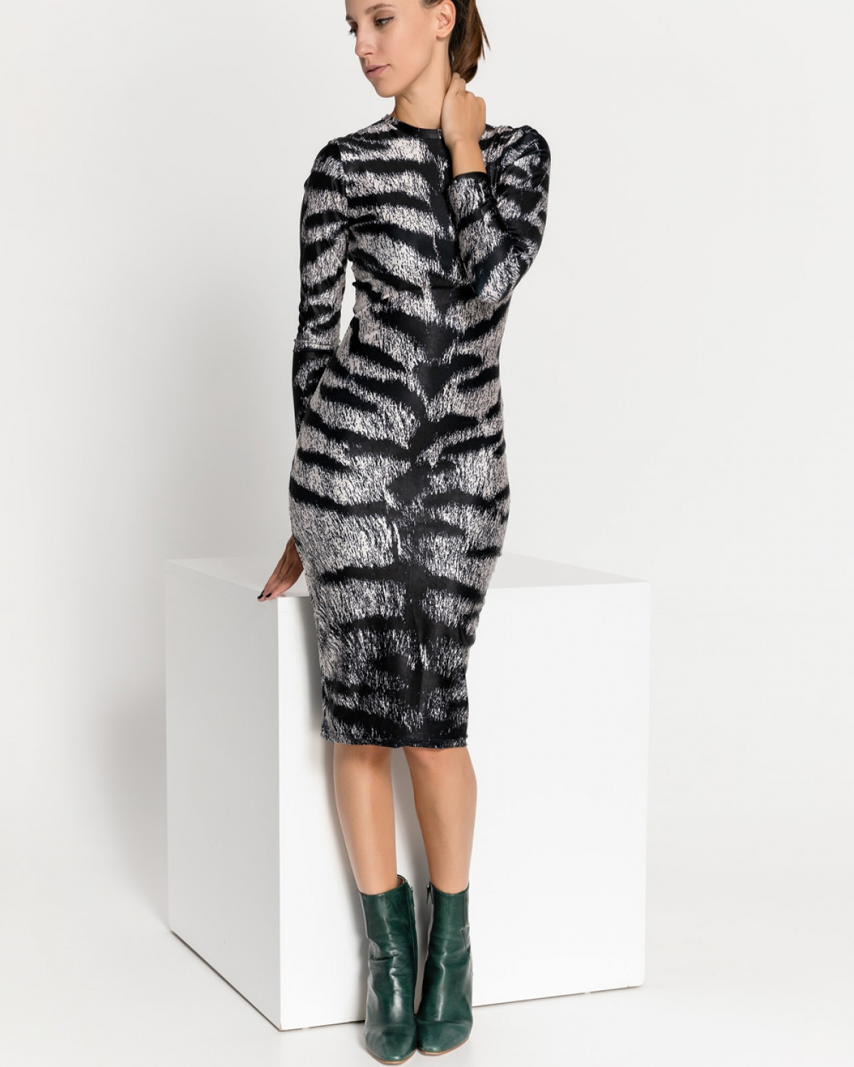 Animal Tiger Vanilla Midi Dress