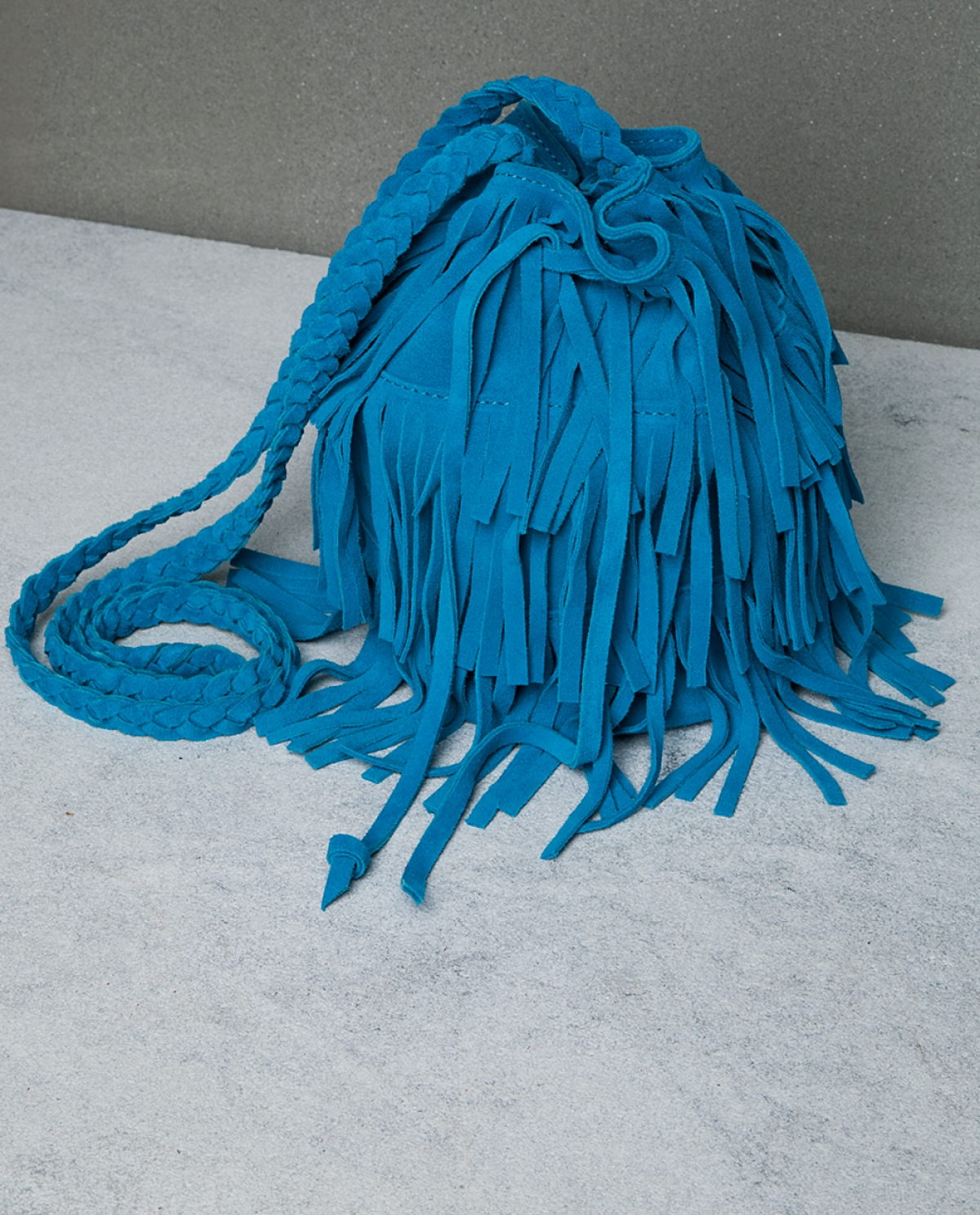 Aqua Green Fringed Pouch Bag