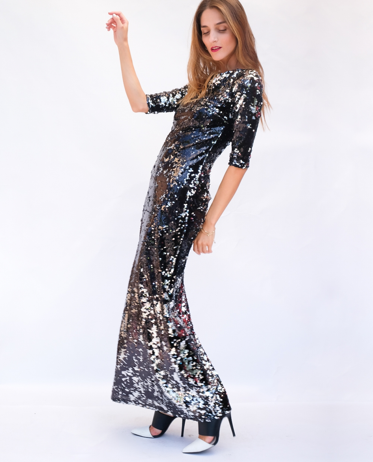 Artemis Open-back Sequined Maxi Dress
