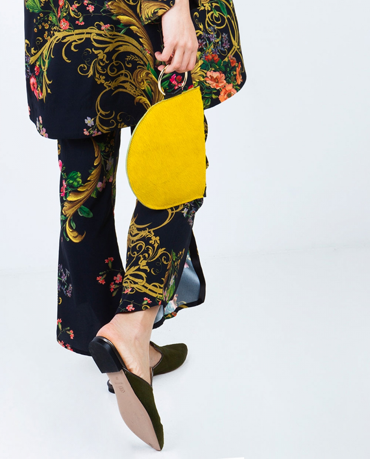Azar Yellow Ponyskin Clutch