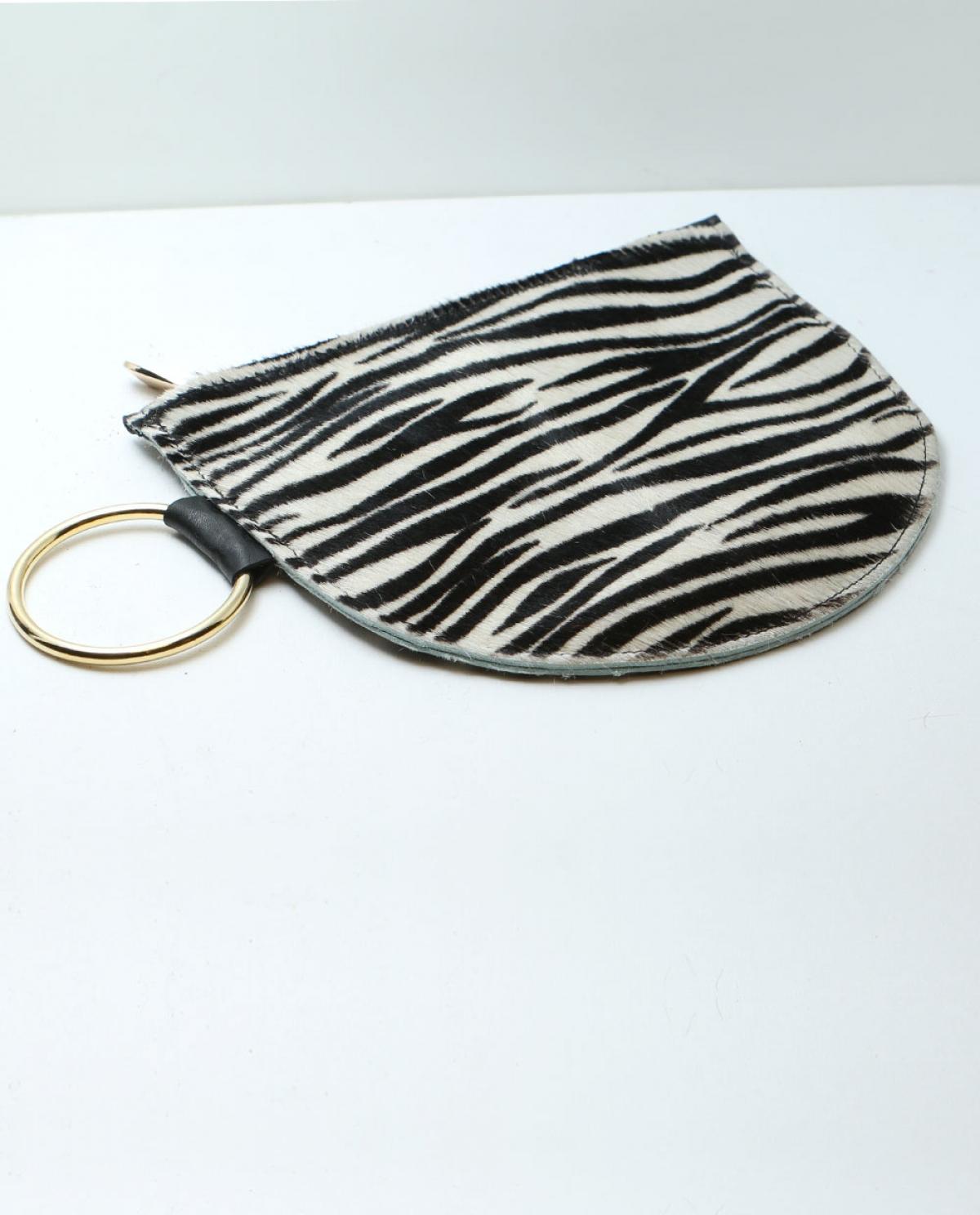 Azar Zebra Ponyskin Clutch