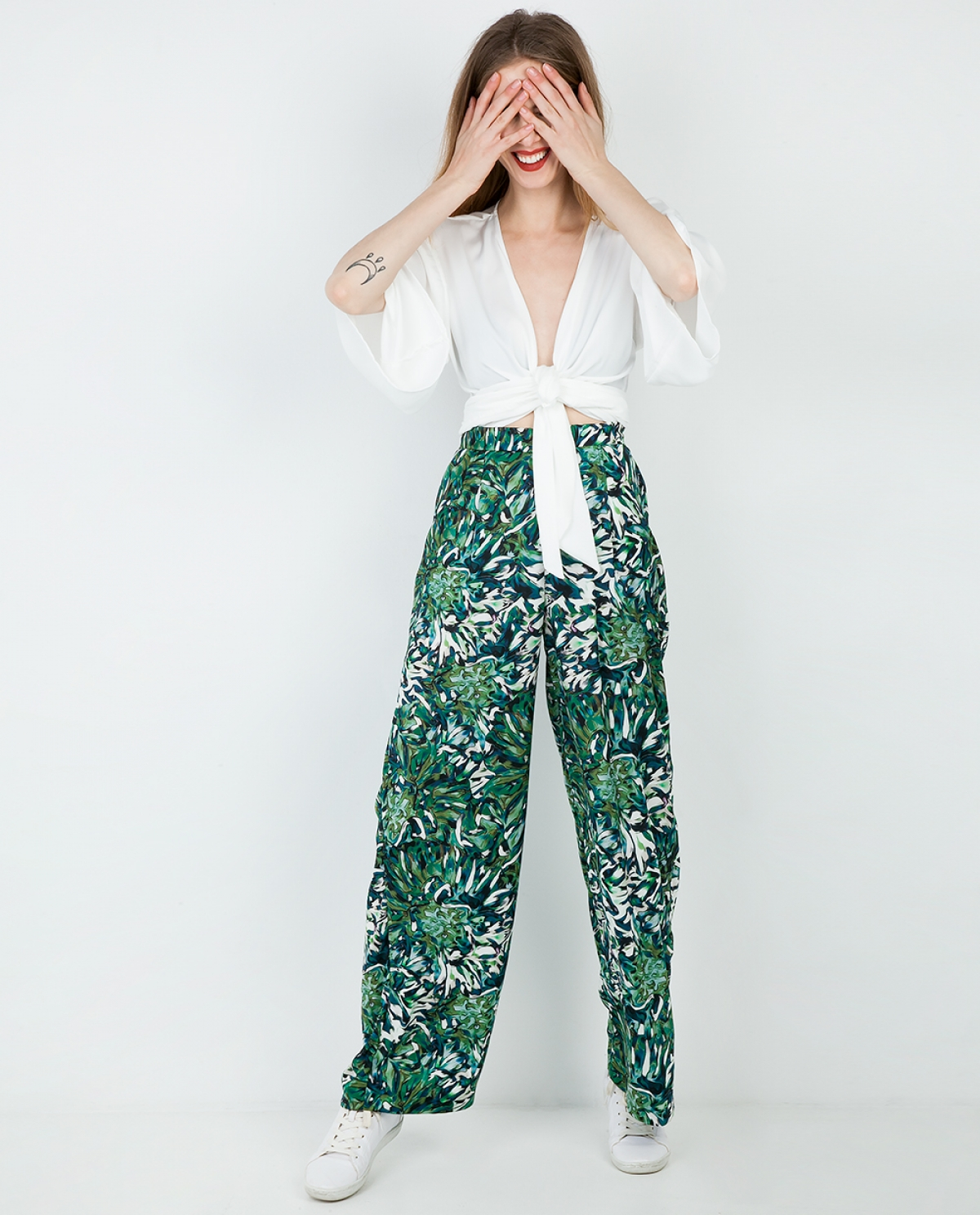 Azolla Printed Wide-leg Trousers