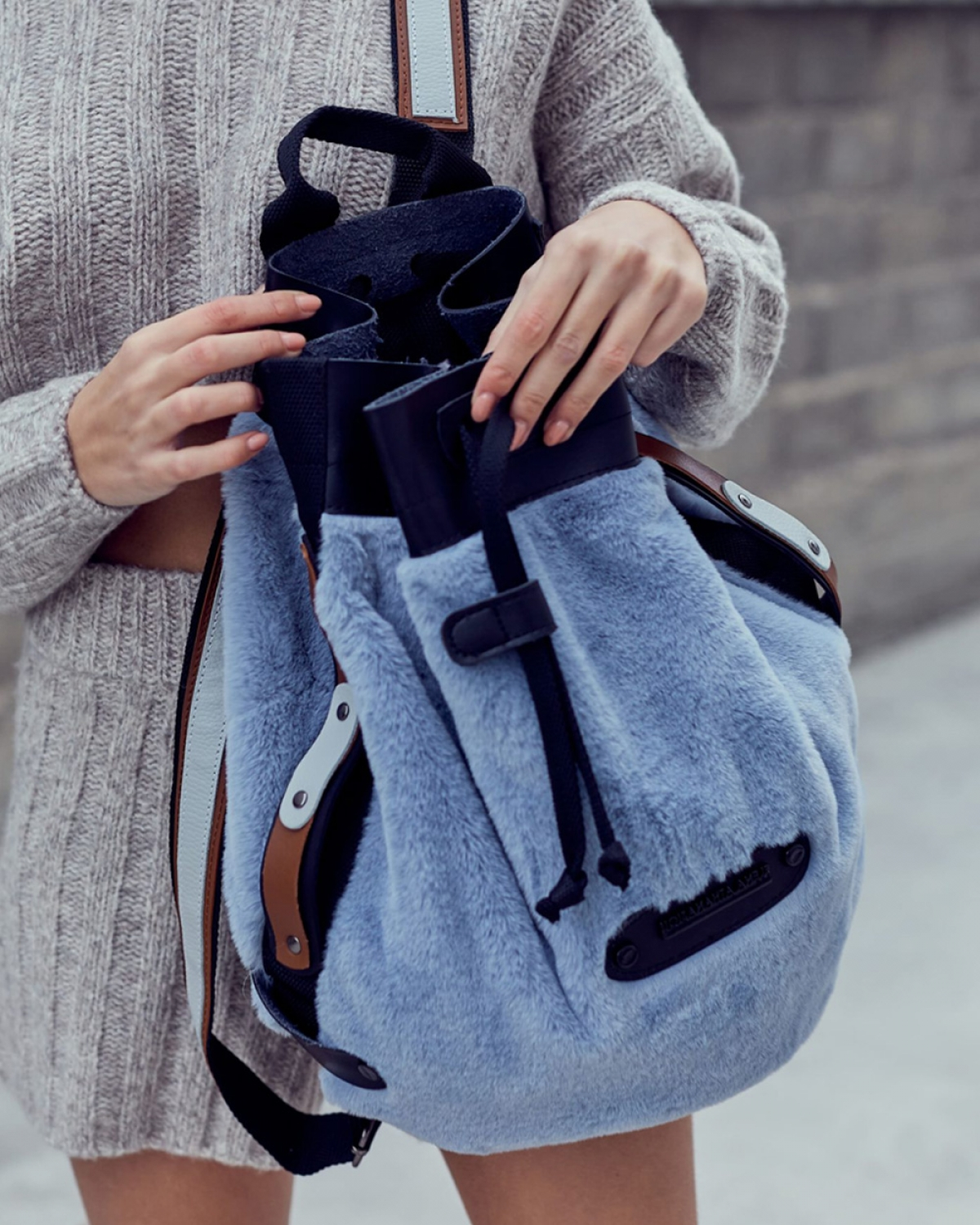 Baby Blue Fluffy Backpack
