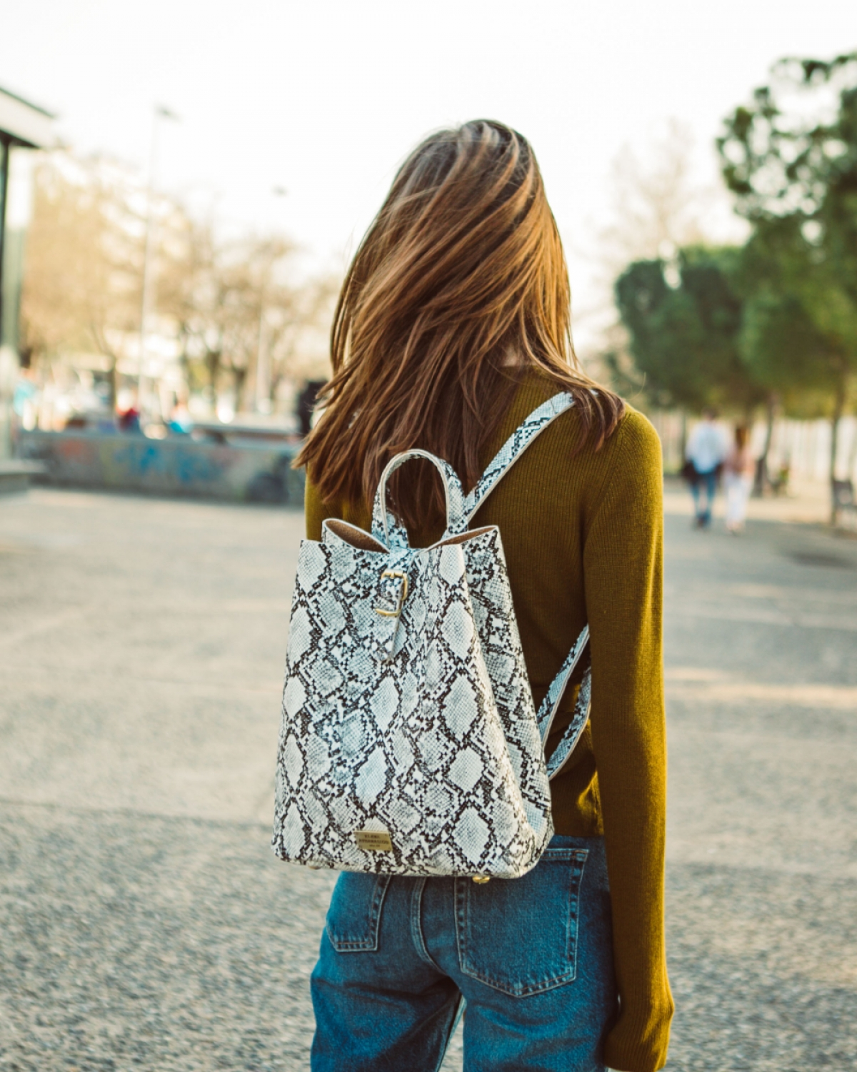 Backpack Snake Pattern White