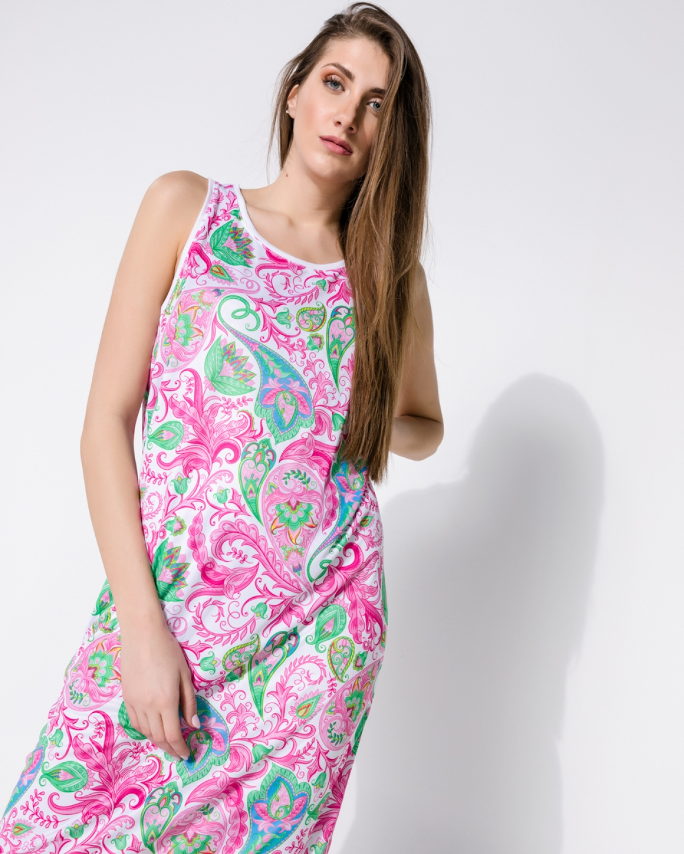 Baisley Bengal Pink White Long Dress