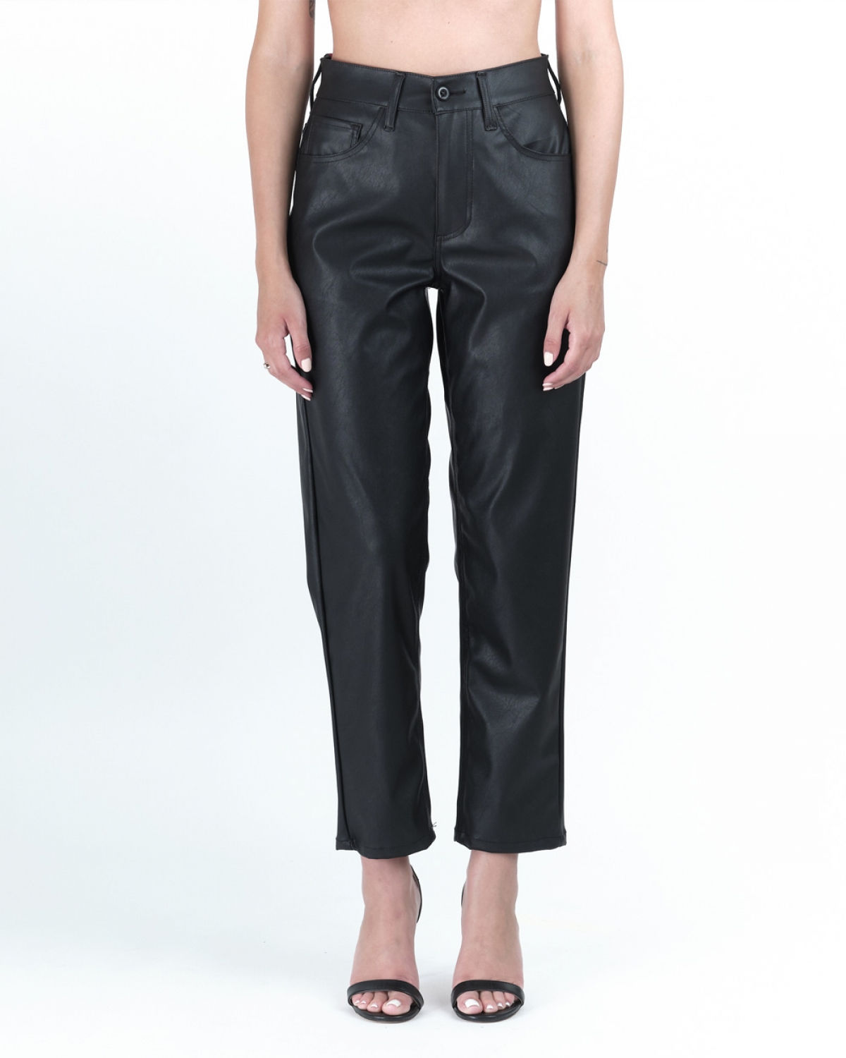 Barbara Black Faux-Leather Trouser