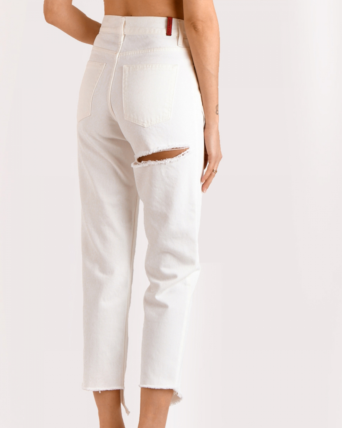 Barbara Off-White Cropped Jeans