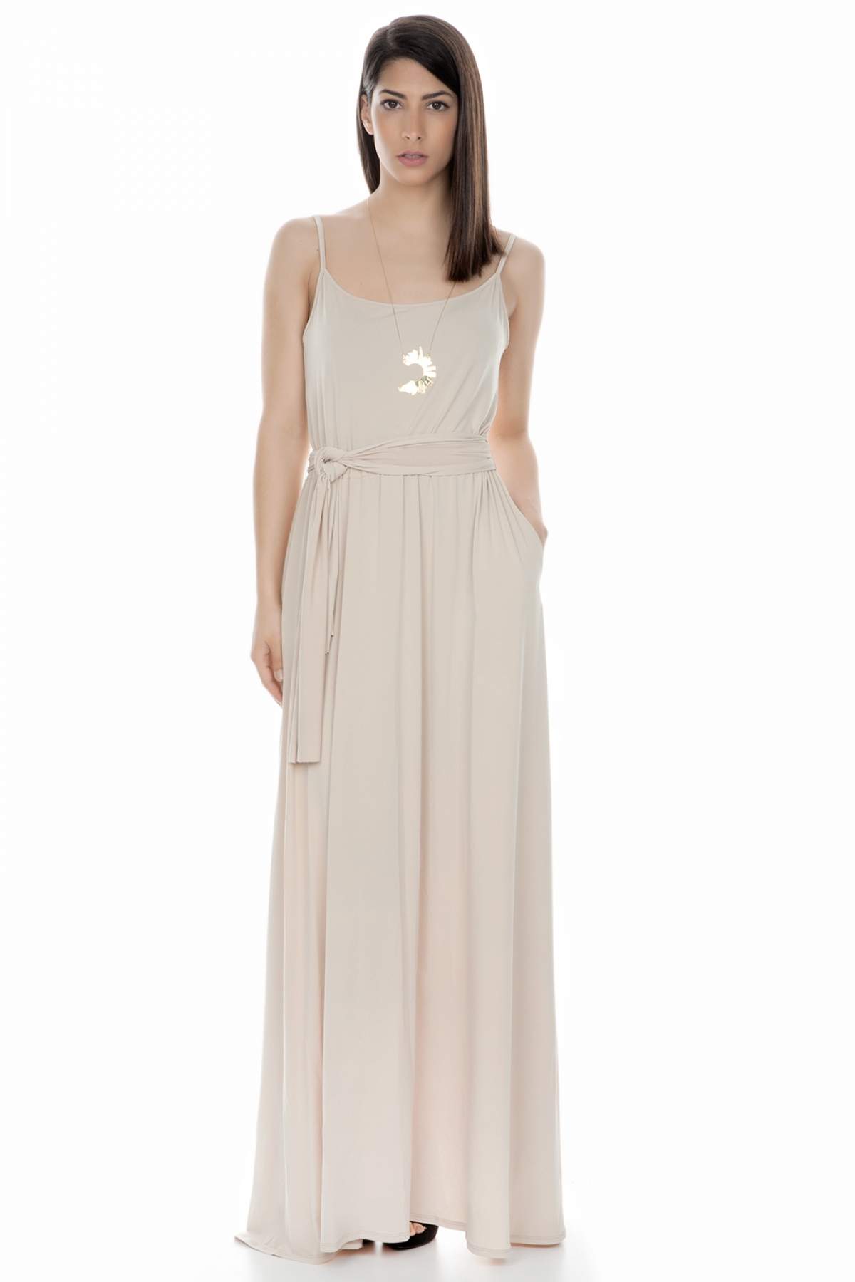 5af4d8c88a4 Beige Maxi Dress - Fashionnoiz