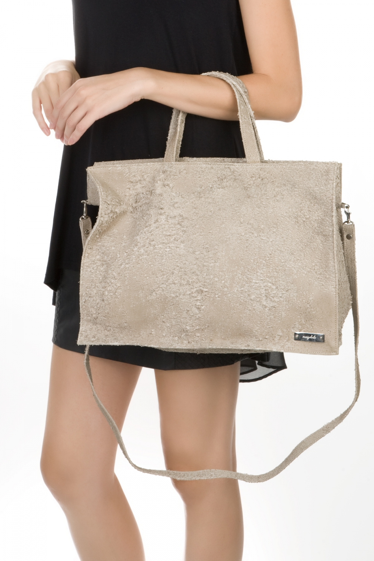 Beige Used Leather Shoulder Bag