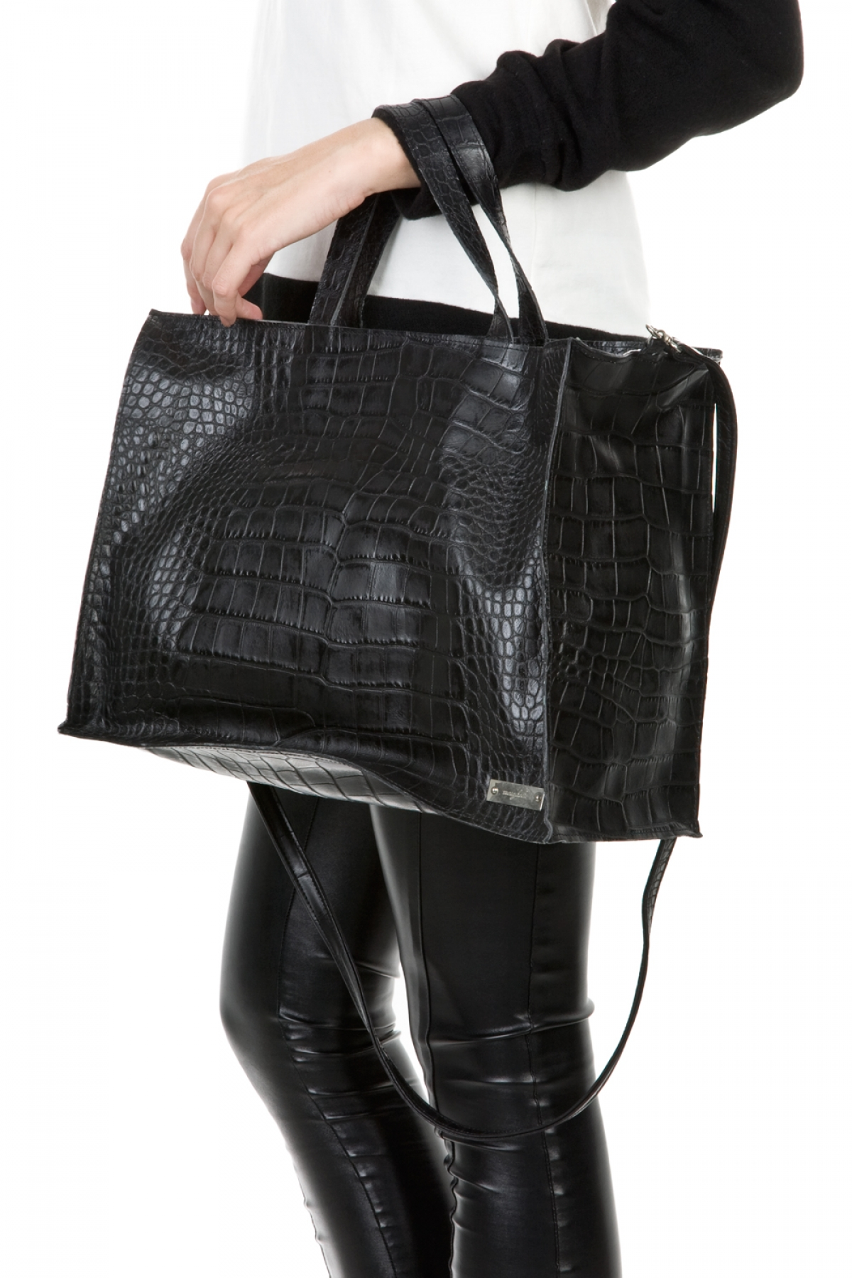 Black Croco Leather Shoulder Bag