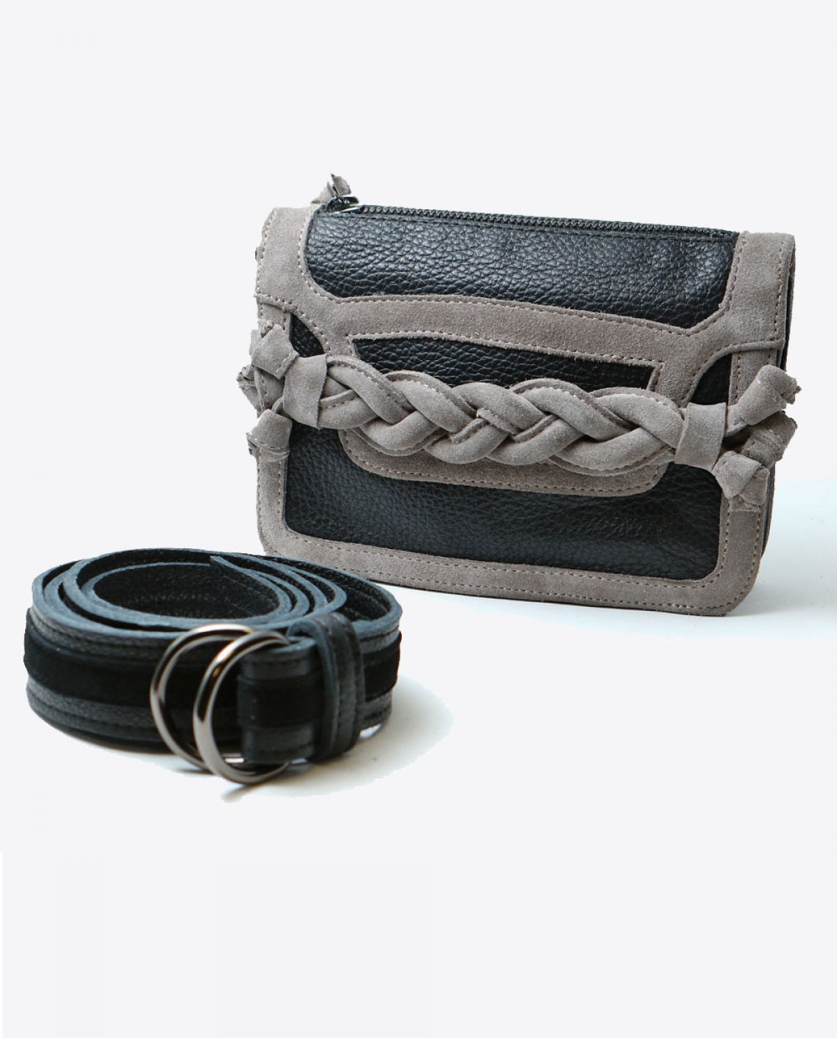 Black Braided Leather Belt Bag