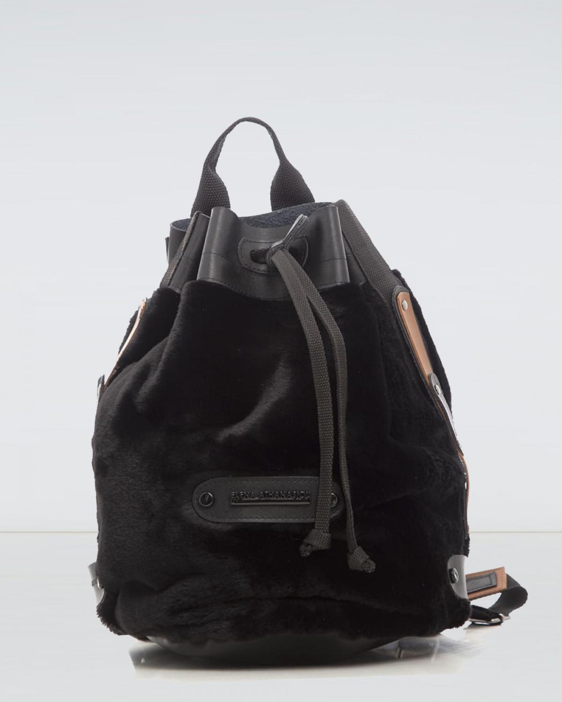 Black Fluffy Backpack