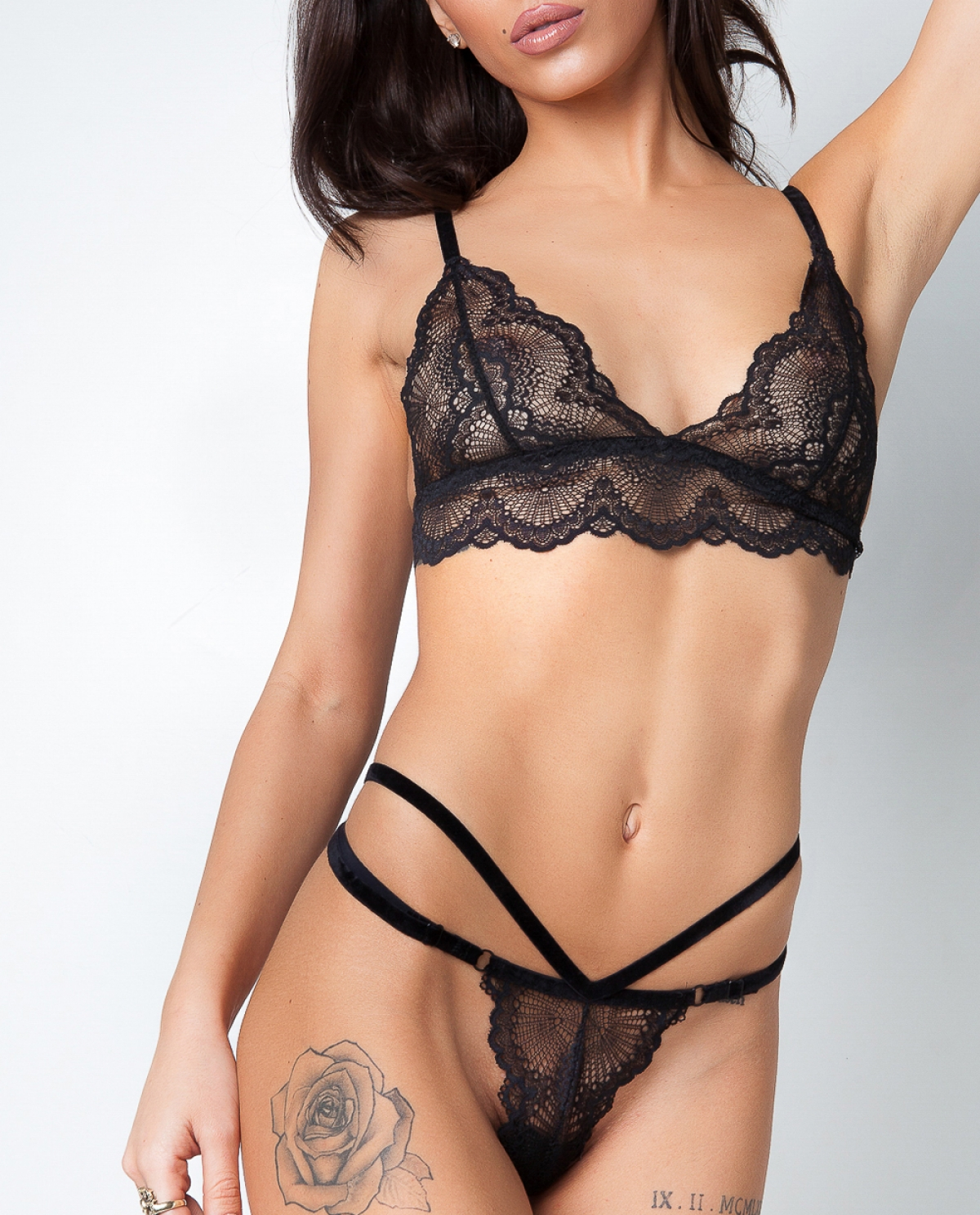 Black Swan Thong Lingerie Set