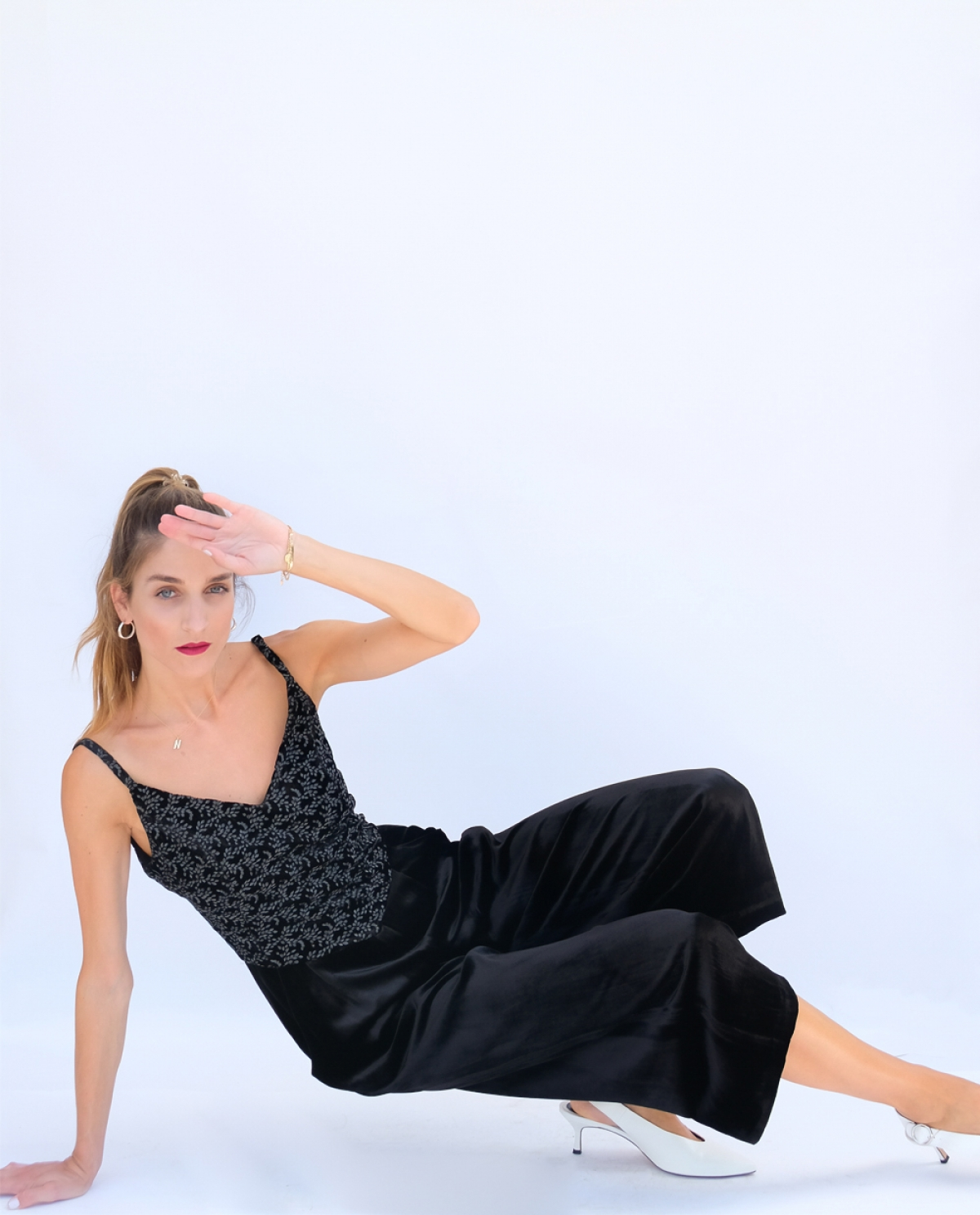 Black Velvet Embroidered Jumpsuit