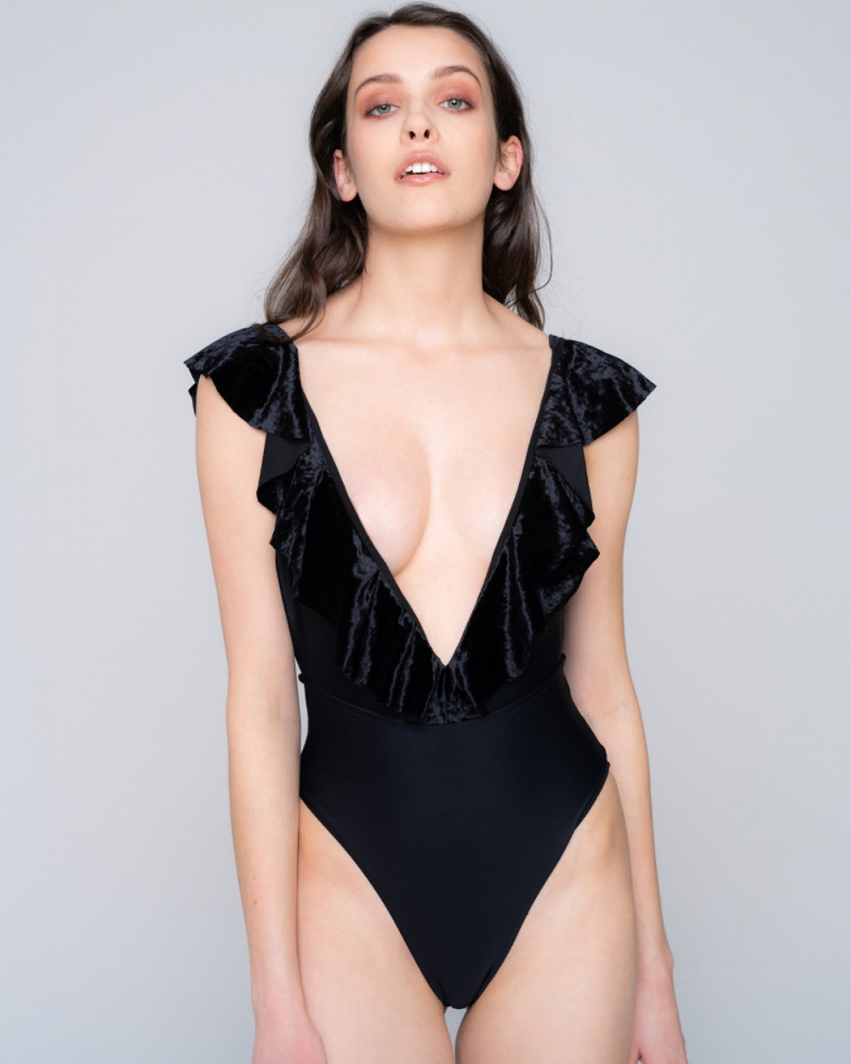 Black Volan Velvet Swimsuit
