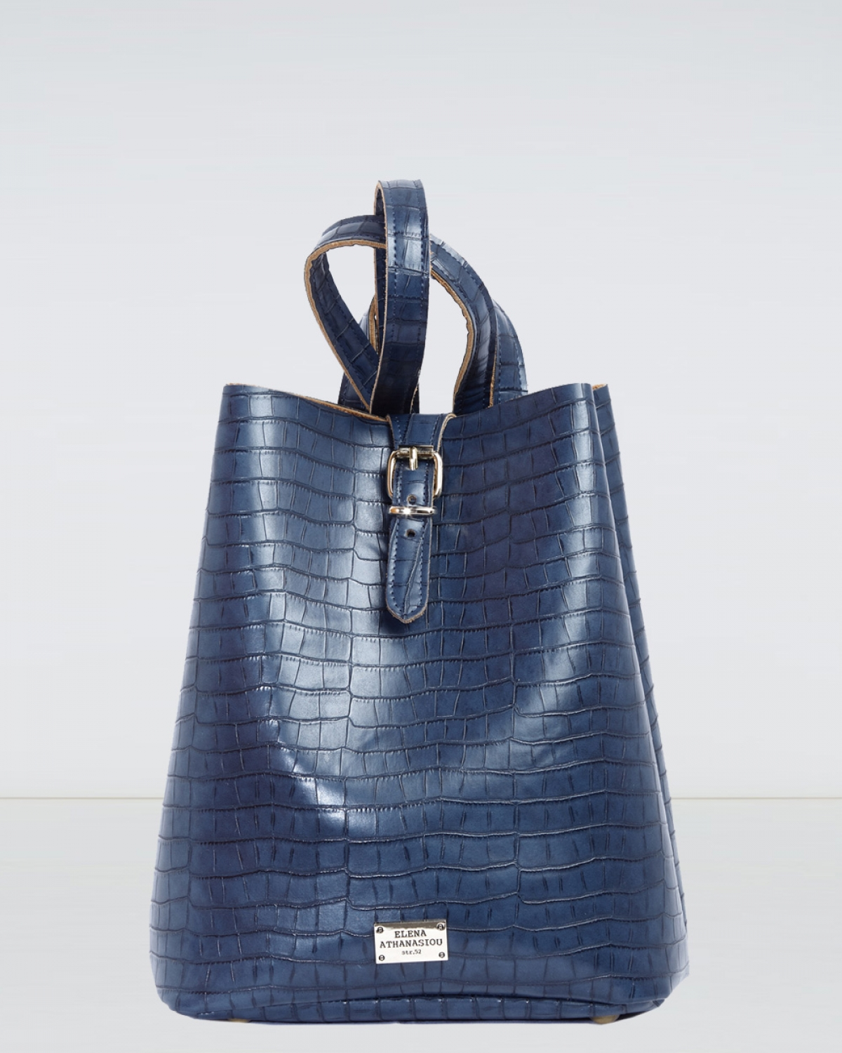 Blue Croco Pattern Backpack