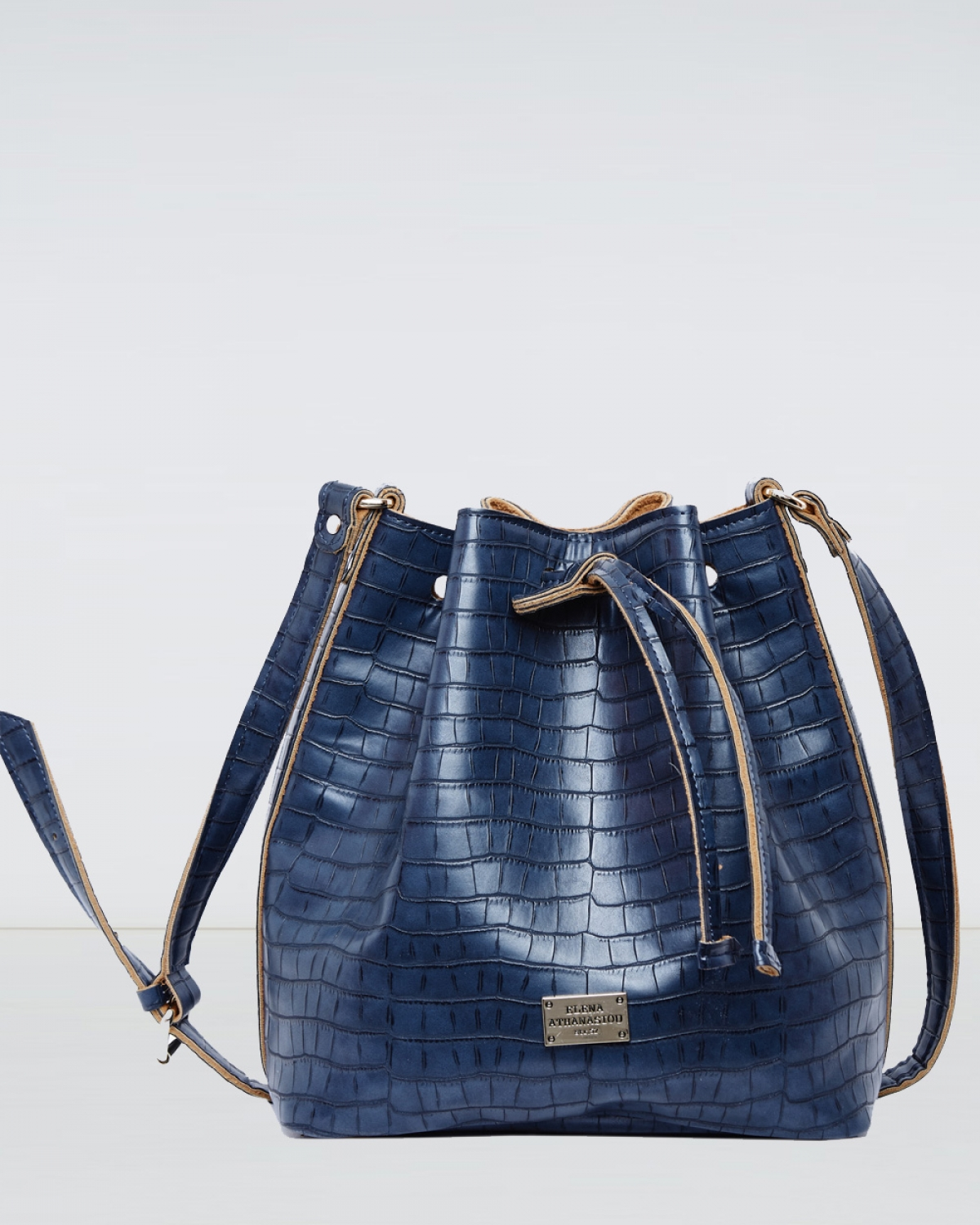 Blue Croco Pattern Pouch Bag
