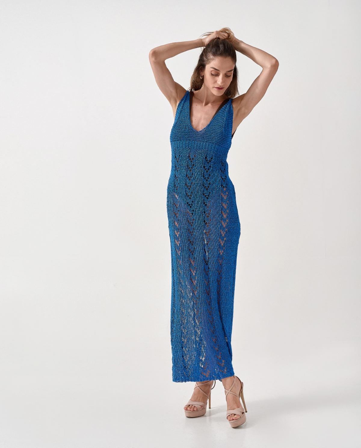 Blue Maxi No Sleeves Dress