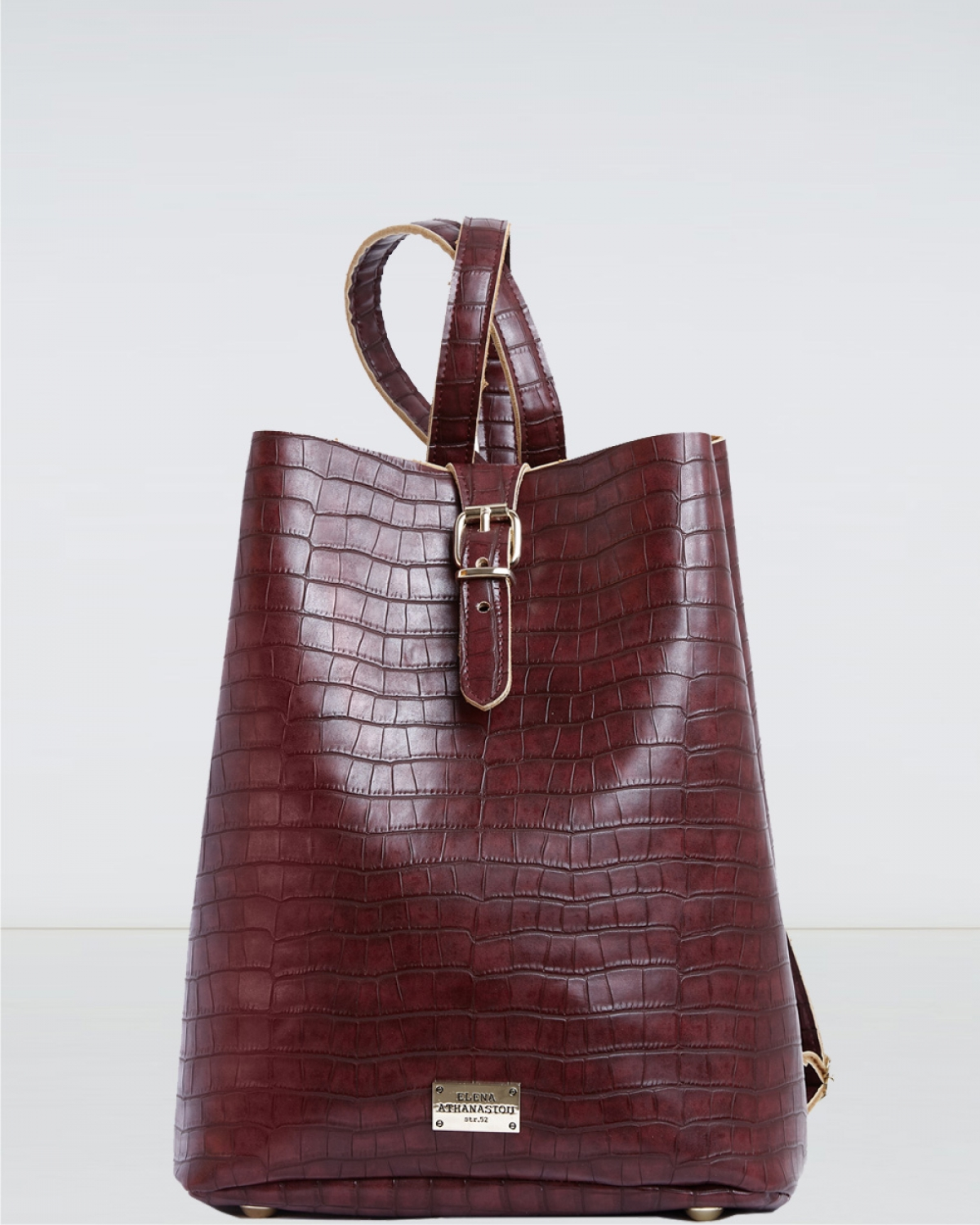 Burgundy Croco Pattern Backpack