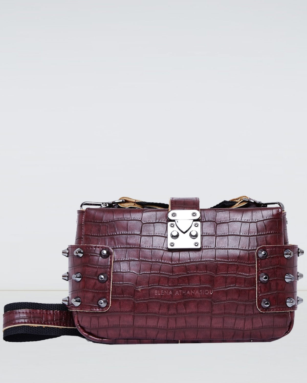 Burgundy Croco City Lady Clutch