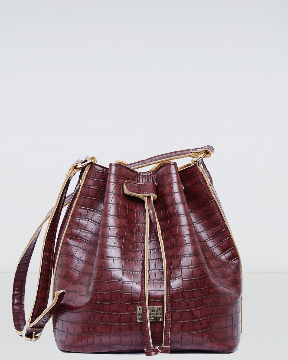 Burgundy Croco Pattern Pouch Bag