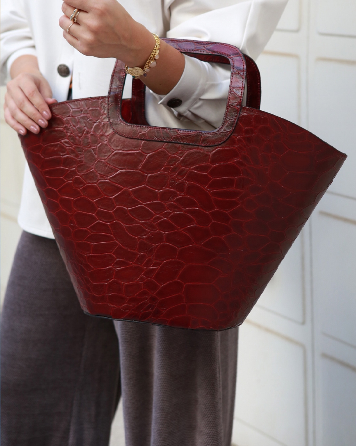 Burgundy Shopping Bag