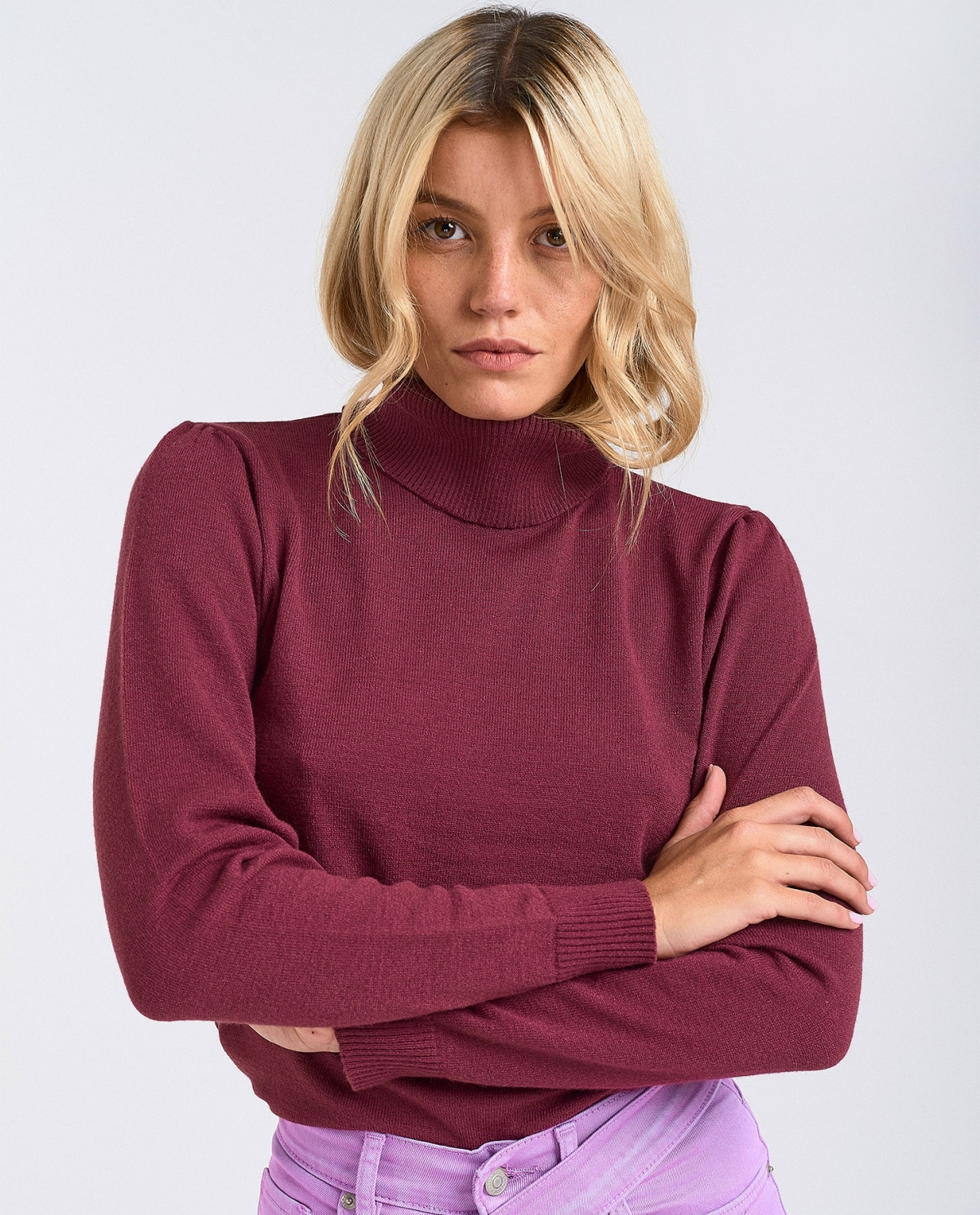 Burgundy Turtleneck Top