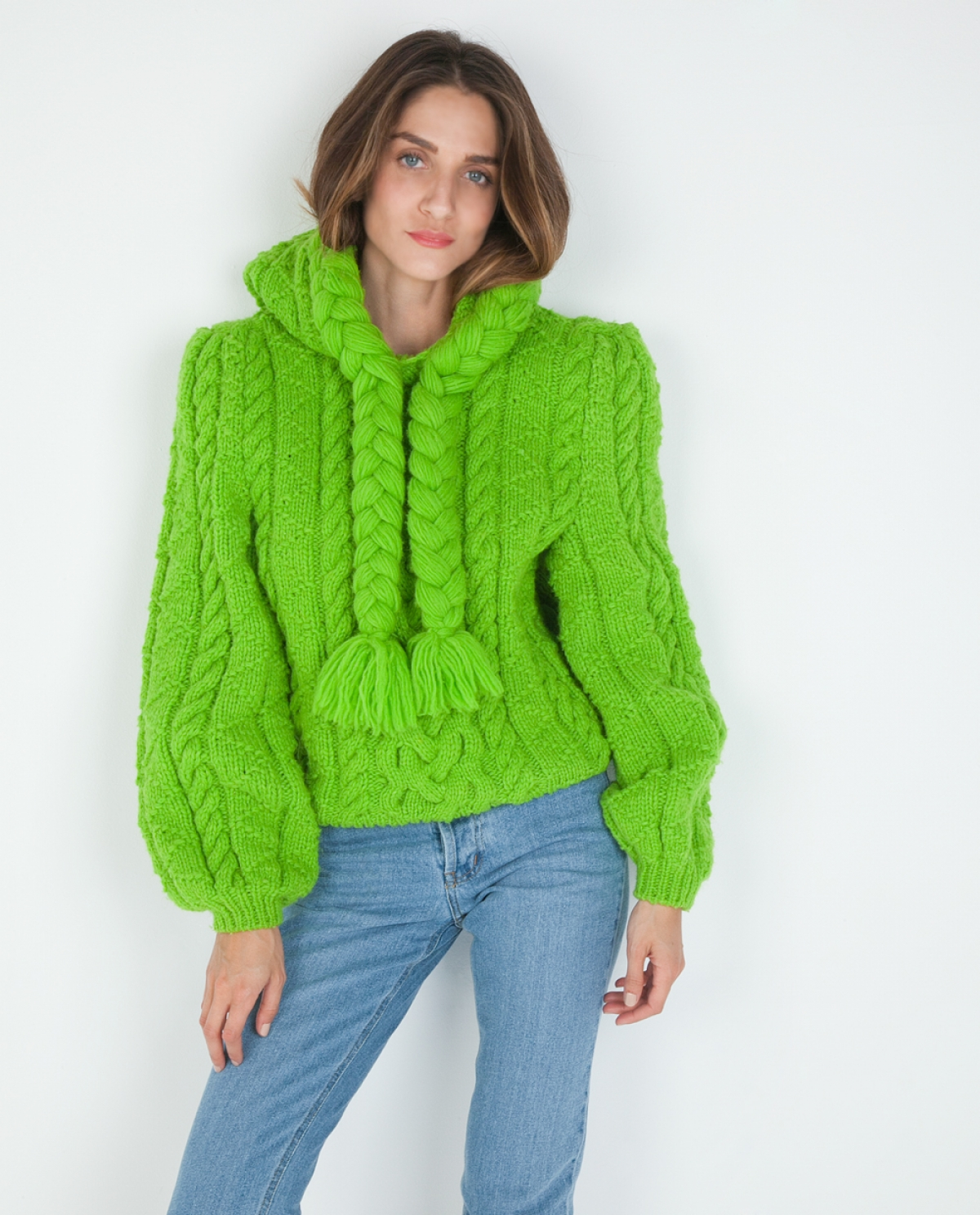 Cable-knit Wool Braid Sweater