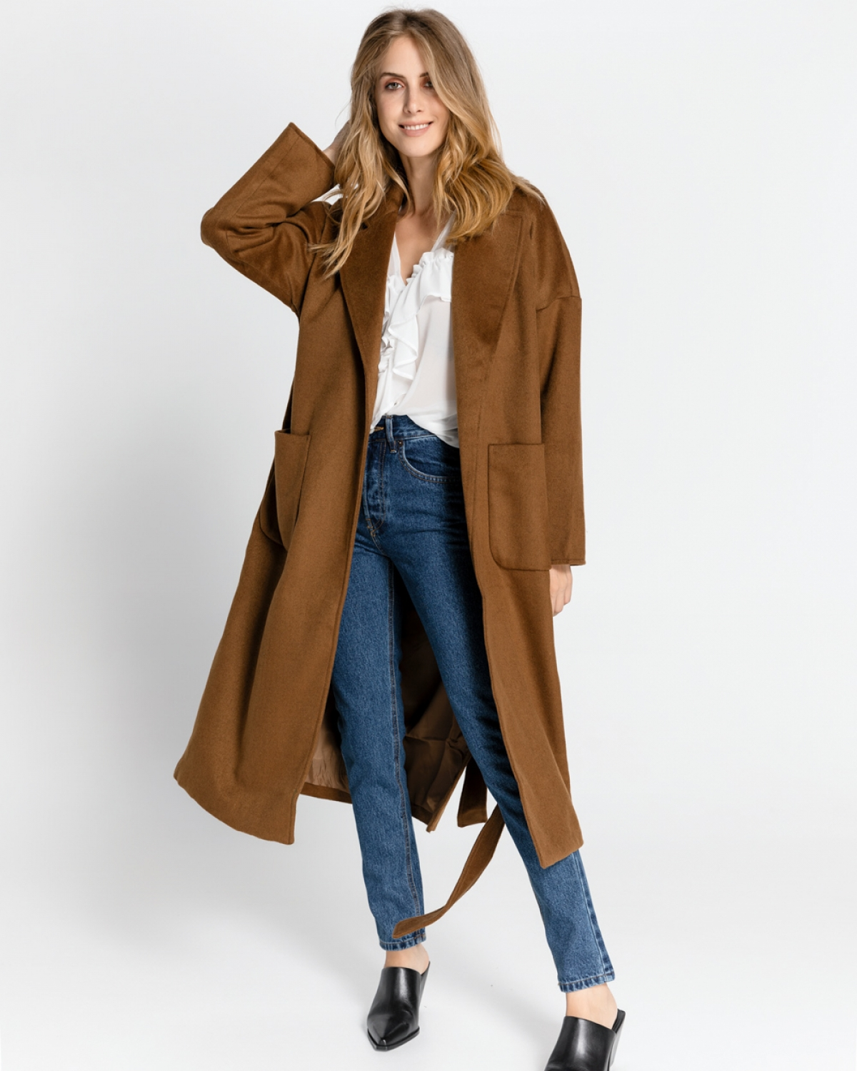 Camel Long Coat with Belt