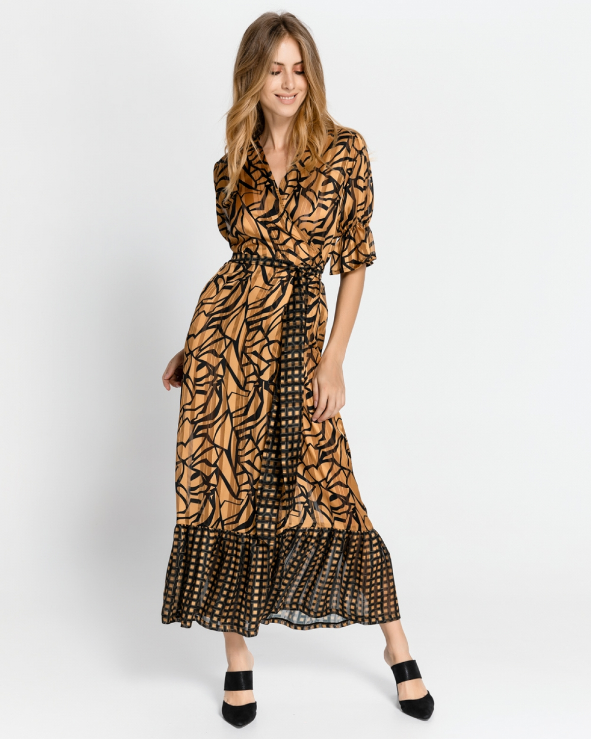 Caramel Printed Midi Boho Dress