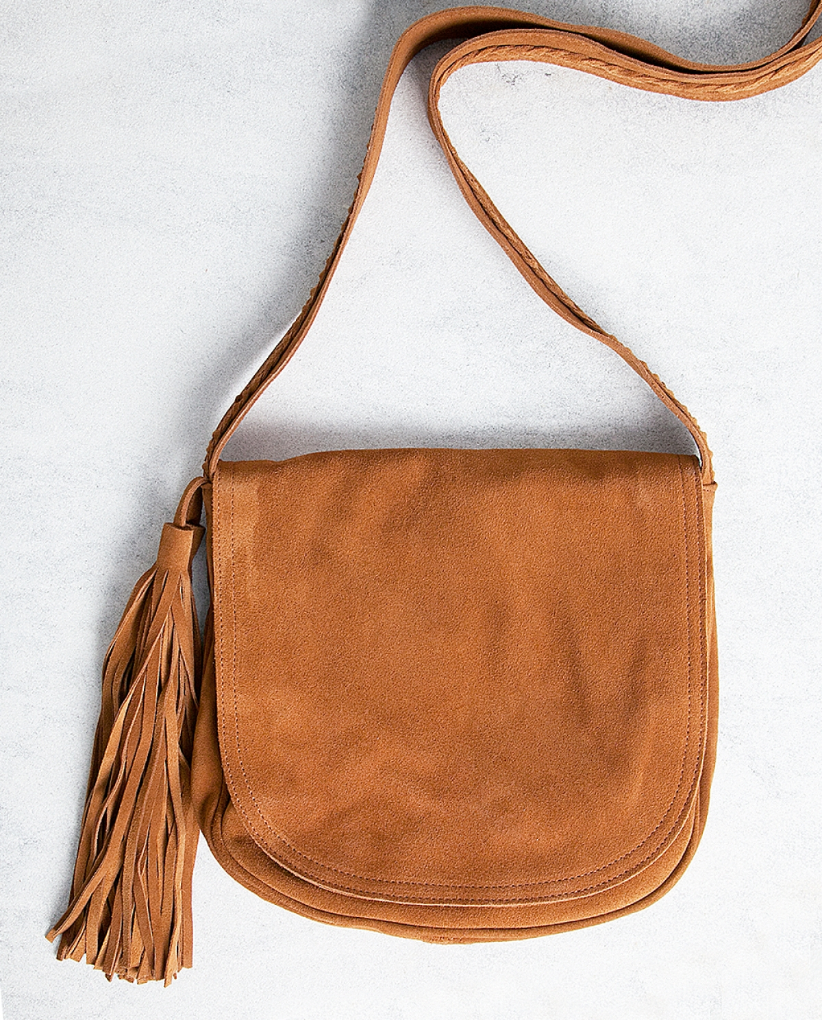 Caramel Suede Messenger Bag