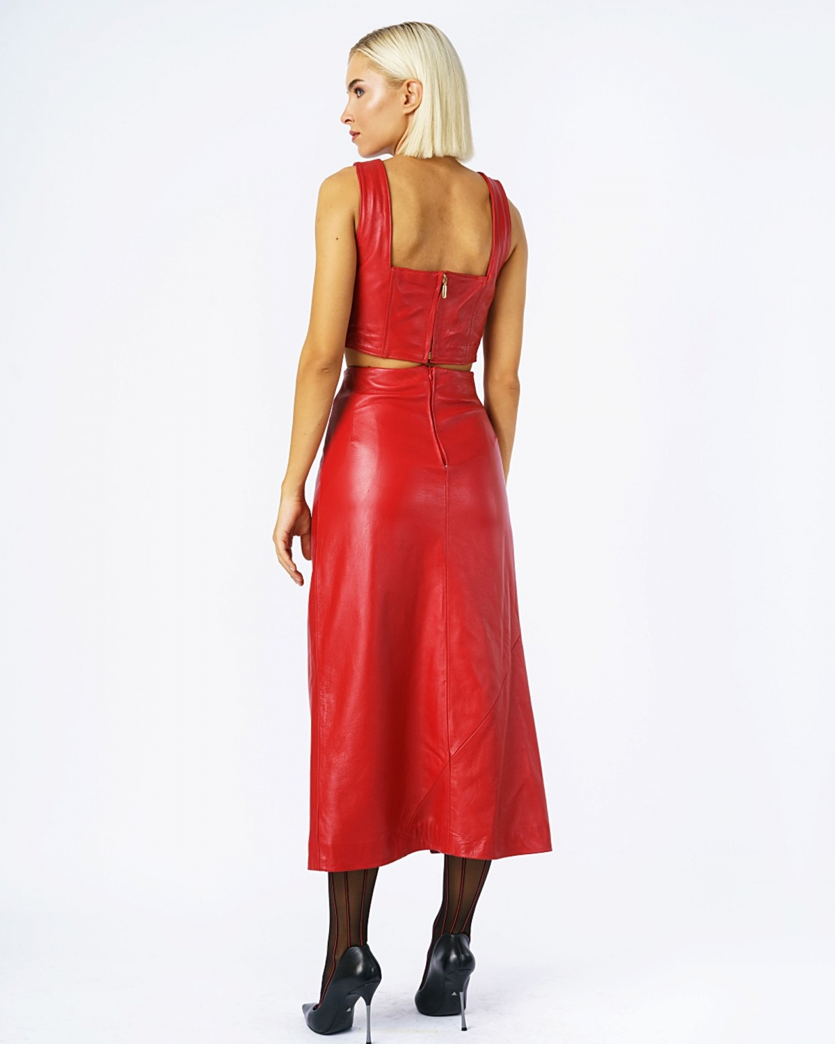 Carys Leather Boostier Red