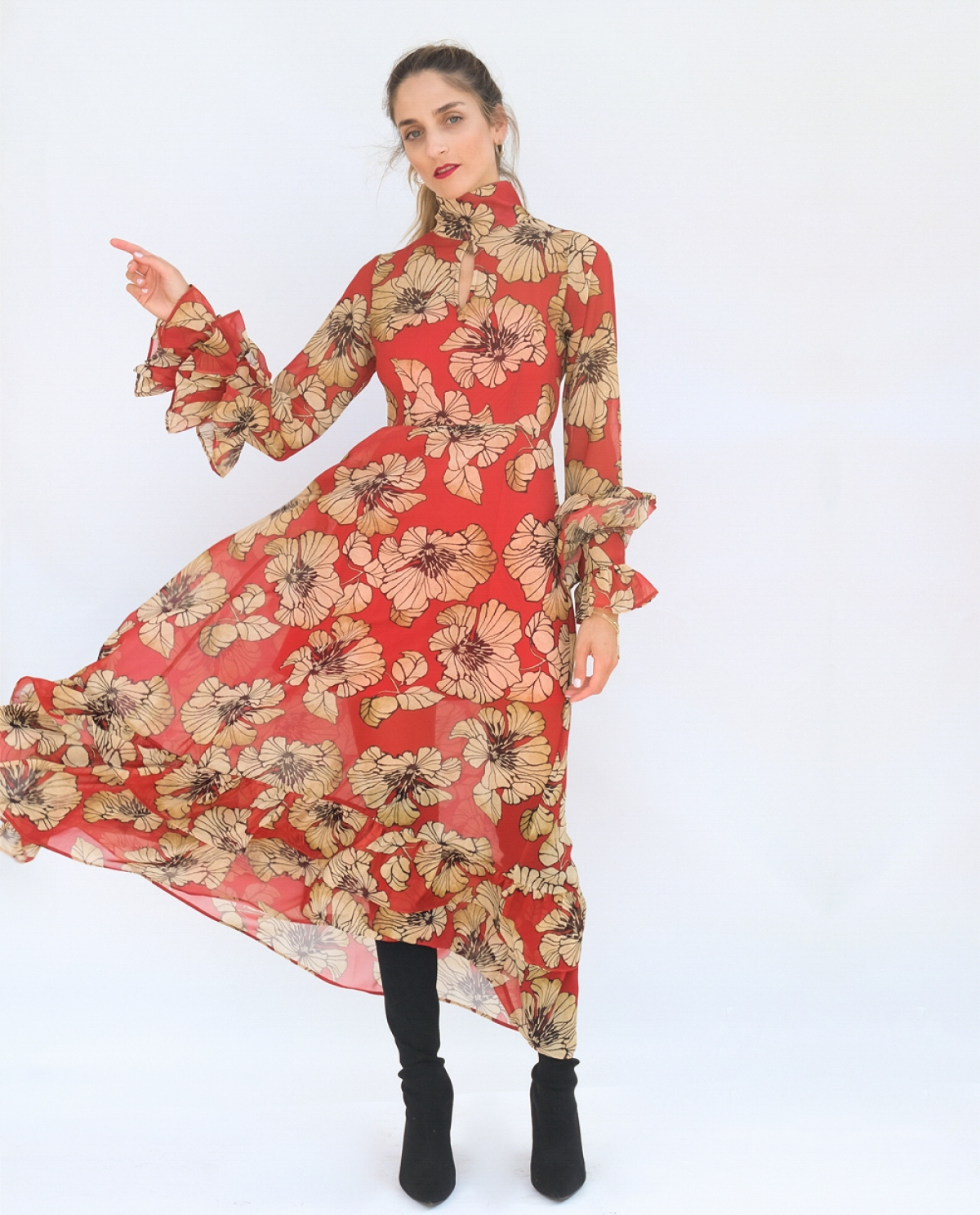 Charlotte Printed Ruffled Dress