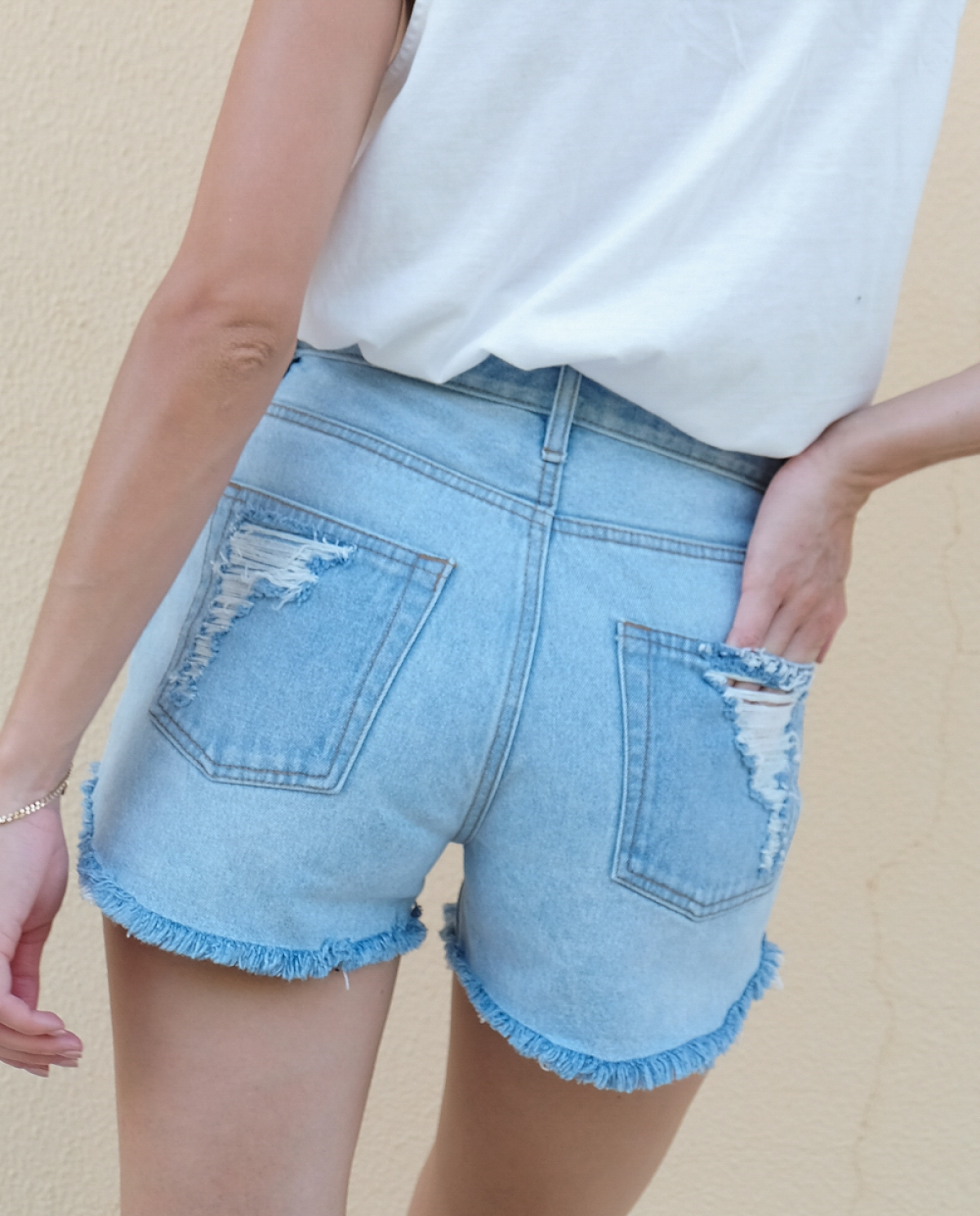 Chiara Light Ripped Denim Shorts