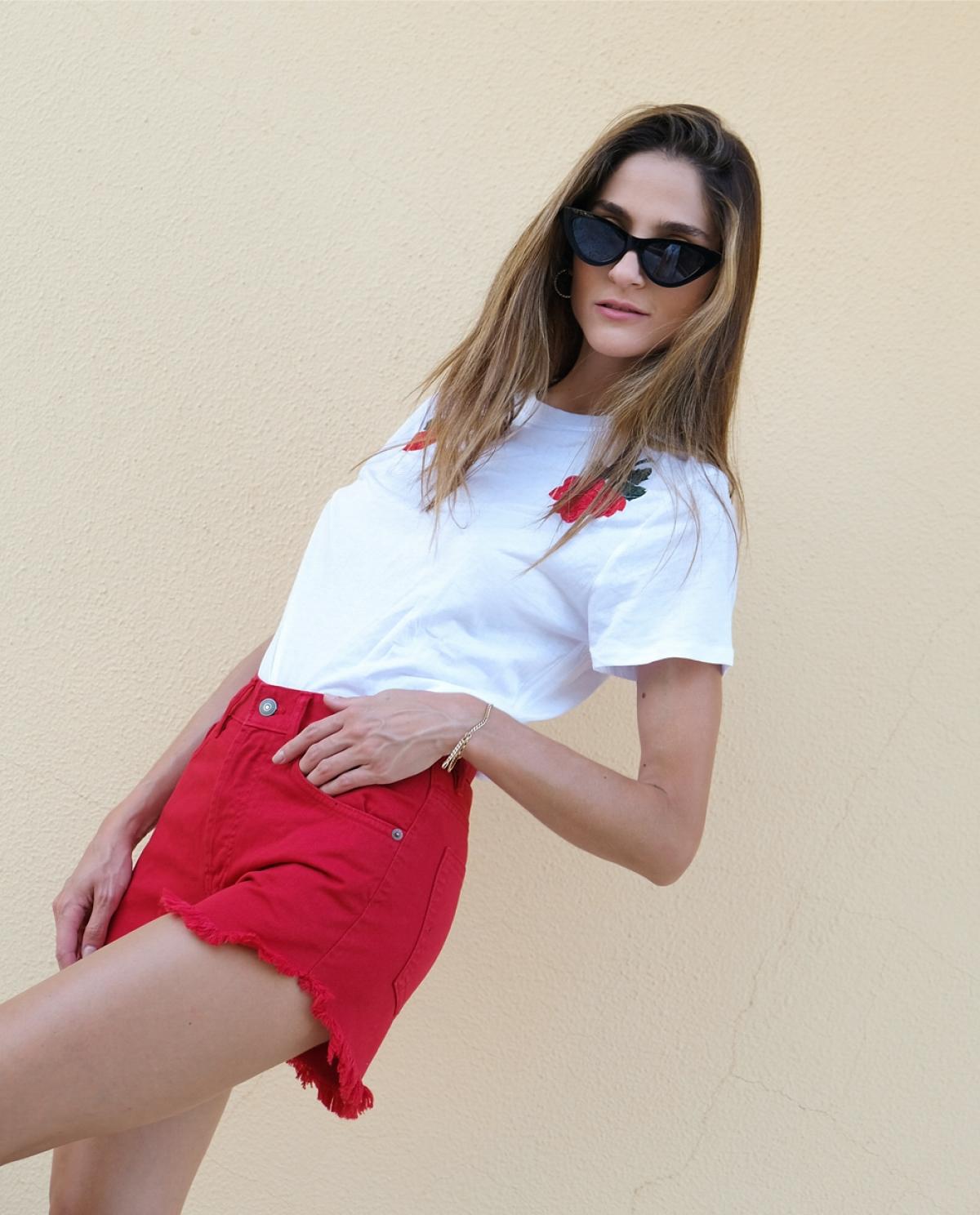 Chiara Red Denim Shorts