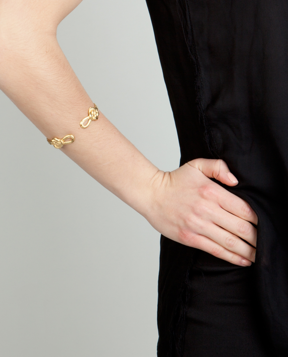 Chinese Knot Gold-plated Silver Cuff