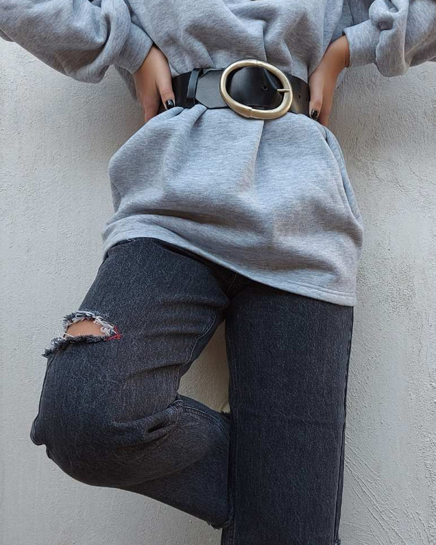 Circle Black Leather Belt
