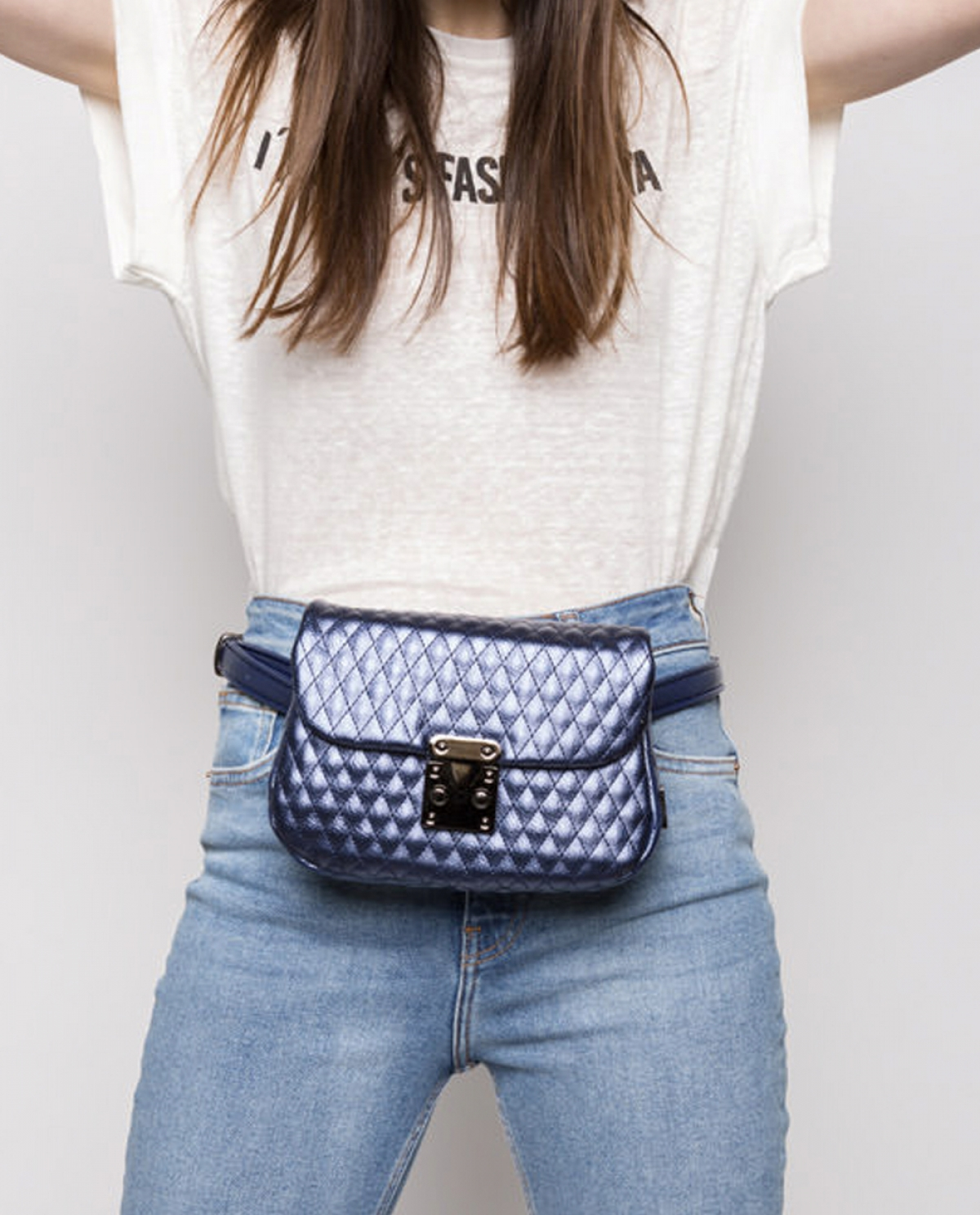 City Lady Metallic Blue Belt Bag