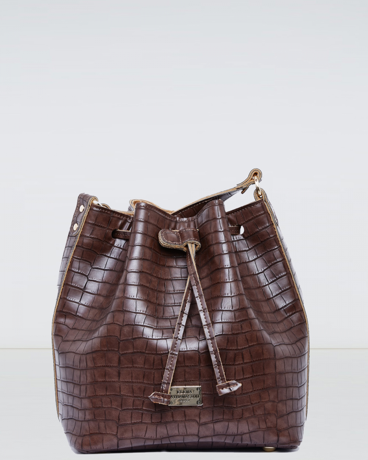 Coffee Croco Pattern Pouch Bag