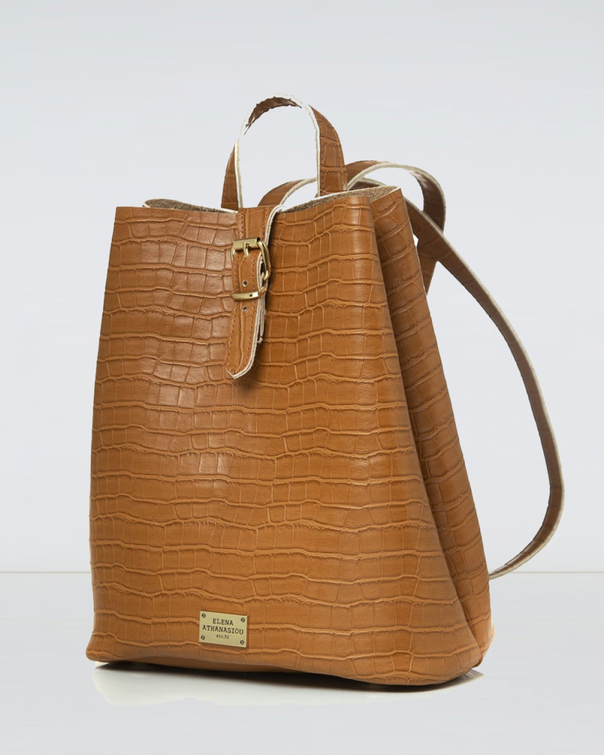 Cognac Croco Pattern Backpack