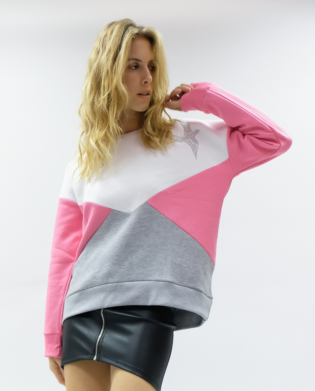 Colour Block Pink Sweatshirt
