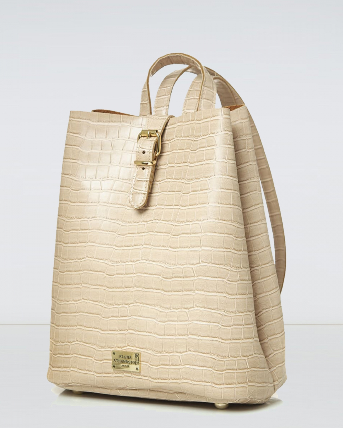 Creme Croco Pattern Backpack