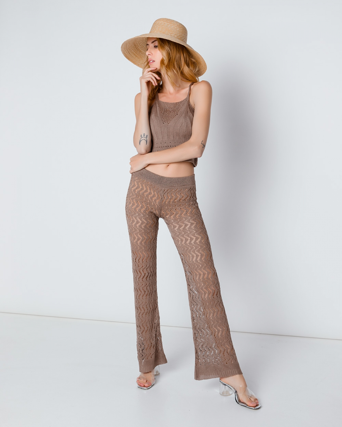 Crochet-Knit Beige Wide-Leg Pants