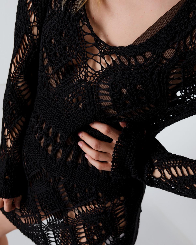 Crochet Mini Black Dress