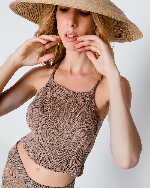 Crochet-Trimmed Beige Crop Top