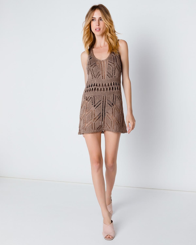 Crocheted Beige Lace Dress